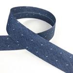 Chambrayschrägband Dots jeansblau