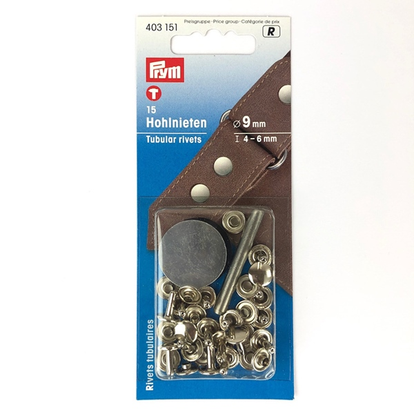 PRYM 15 Hohlnieten 4 - 6 mm silber
