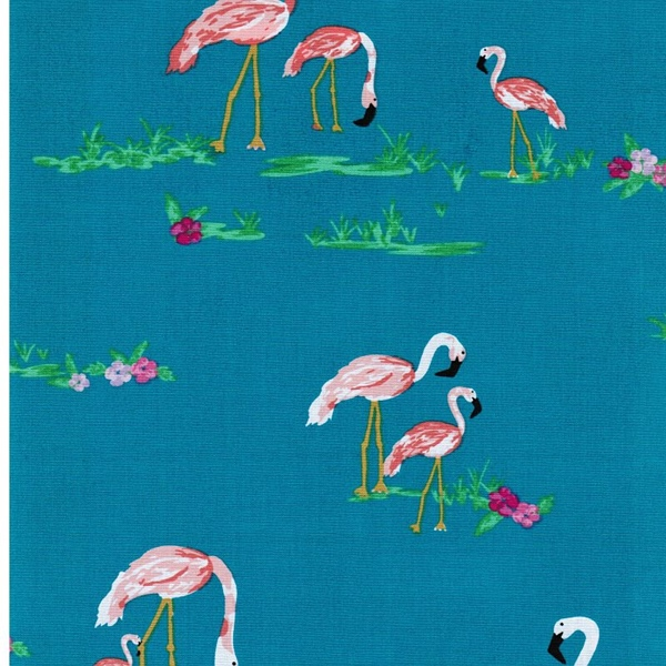 WEST PALM Popeline Flamingos petrol