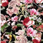 MANDY Jersey Blumen schwarz koralle