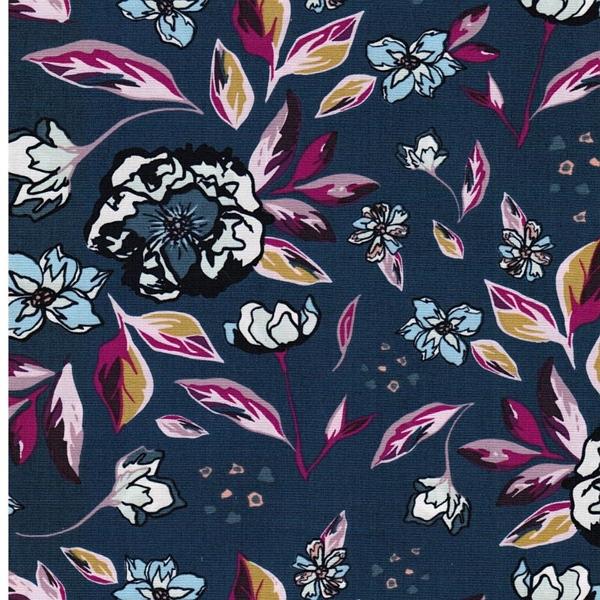 ENCHANTED FLORA Popeline Blüten blau