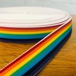Gummiband Streifen 25 mm Regenbogen