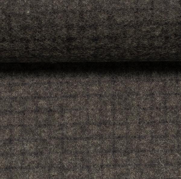 VITO Wollflanell-Tweed Gitter grau