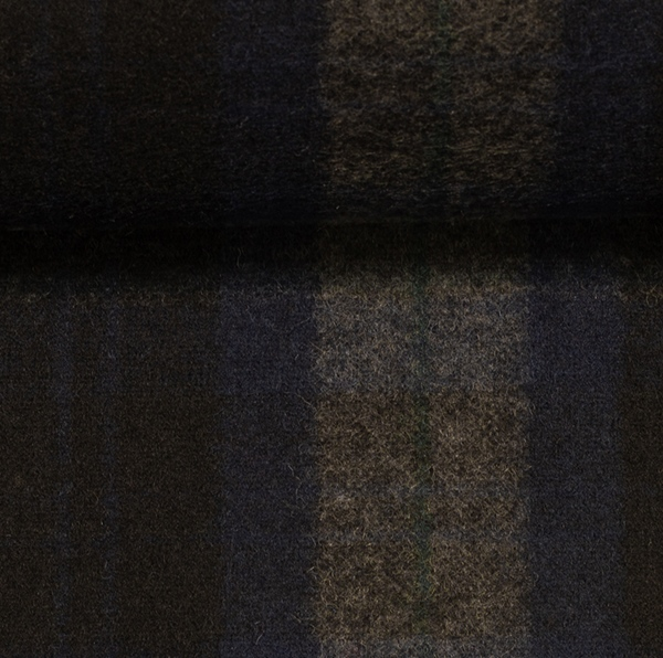 EROS Wollflanell-Tweed Karo navy schwarz