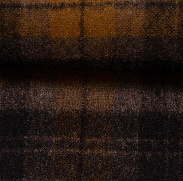 EROS Wollflanell-Tweed Karo senf schwarz