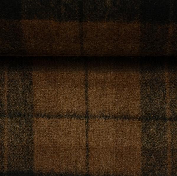EROS Wollflanell-Tweed Karo cognac schwa