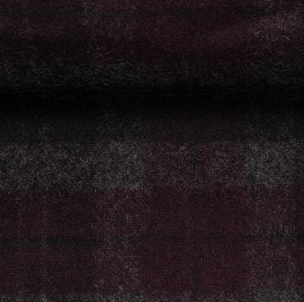 EROS Wollflanell-Tweed Karo bordeaux sch