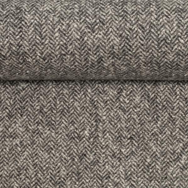 CAMILLA Tweed Fischgrat weiß schwarz