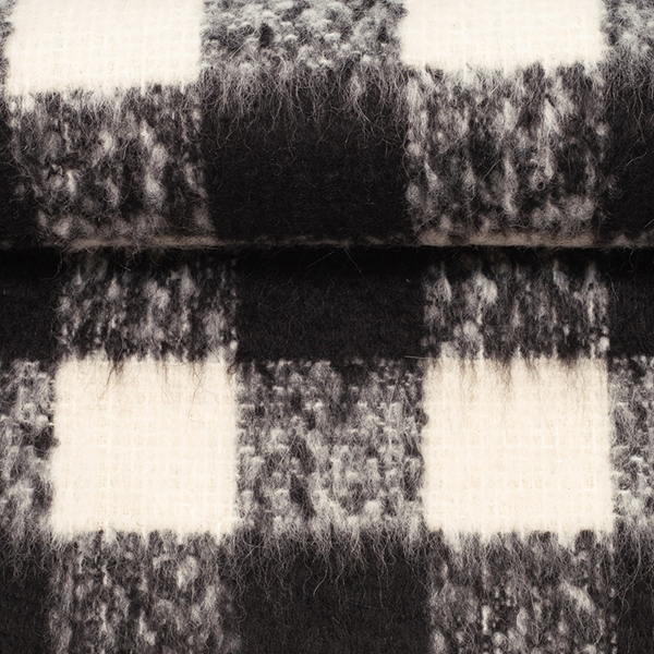 BIANCA Wollstoff Karo schwarz weiß