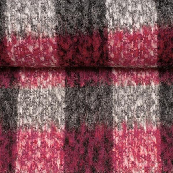 BIANCA Wollstoff Karo pink grau