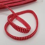 Hoodieband Flachkordel 10 mm rot weiß