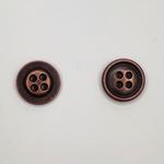 Metallknopf 12 mm 4-Loch altkupfer