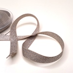 Fischgratköperband 15 mm beige silber