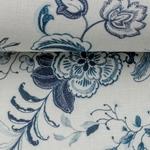 LIZZY Viskoe/Leinen Blumen weiß azurblau