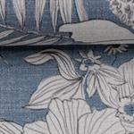 LIZZY Viskoe/Leinen Blüten jeansblau