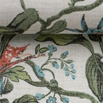 LIZZY Viskoe/Leinen Blumen Vögel