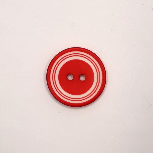 Polyesterknopf 23 mm rot weiß