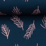 LEAVES Viskose nachtblau lachs