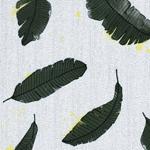 BOTANICAL LEAF Viskose Blätter weiß grün