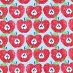 5 DAYS FRUITS Jersey Äpfel rot hellblau