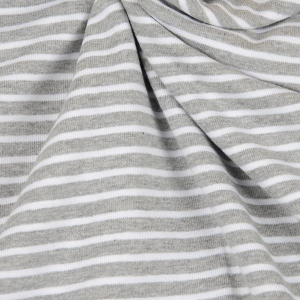 CAMPAN Jersey Streifen grau meliert weiß