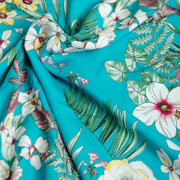SHANTI Viskose Blüten türkis