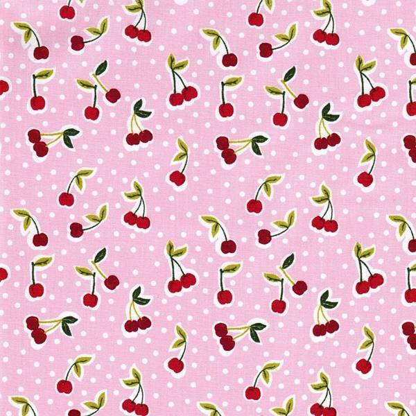 COATED CHERRY Wachstuch Kirschen rosa