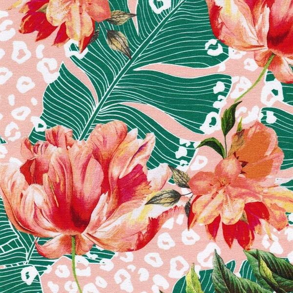 FARAH Viskosejersey Blüten lachs grün