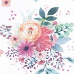 LISBET Jersey Vögel Blumen weiß