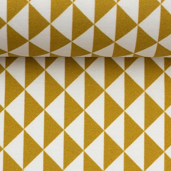 TONI Popeline geometrisch senf weiß