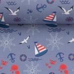 TONI Popeline maritim blau rot weiß