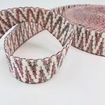 Jacquard-Gurtband 40 mm weiß rot grün