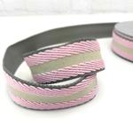 Jacquard Gurtband 40mm rosa beige grau