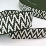 Jacquard-Gurtband 38 mm grün weiß