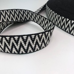 Jacquard-Gurtband 38 mm schwarz weiß