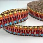 Jacquard-Gurtband 40 mm gelb rot bunt