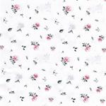 SUDBINA Webware kleine Rosen weiß grau