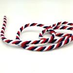 gedrehte Kordel 6 mm weiß navy rot