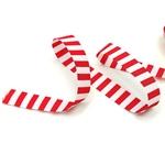 Ripsband gestreift 15 mm weiß rot