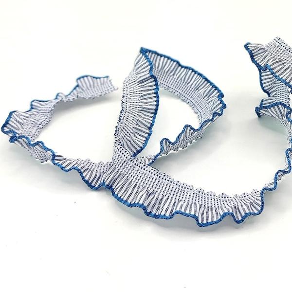 elastische Rüsche 13 mm weiß jeansblau