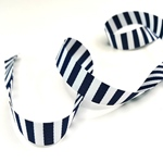Ripsband gestreift 15 mm weiß navy