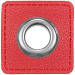 Ösen Patches 11mm rot silber