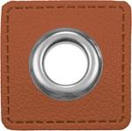 Ösen Patches 11mm rehbraun silber