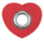 Ösen Patches Herz 11mm rot silber