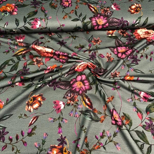 DAIRINE Viskosejersey Blumenranken oliv