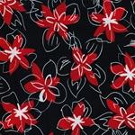 0,85m Reststück Viskose Blüten dunkelbla