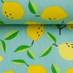 LUNA Wachstuch Zitronen türkis gelb