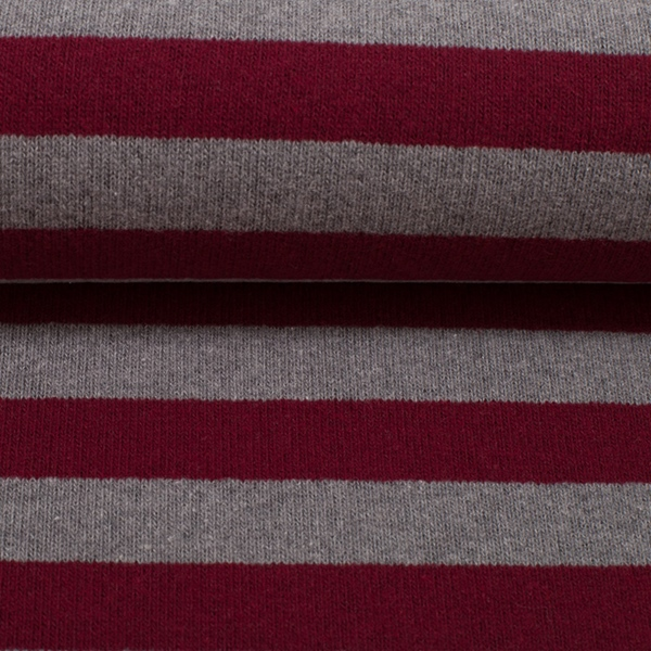 LENN Feinstrick Streifen burgund grau