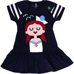 Green Cotton SAILOR FRONT DRESS navy