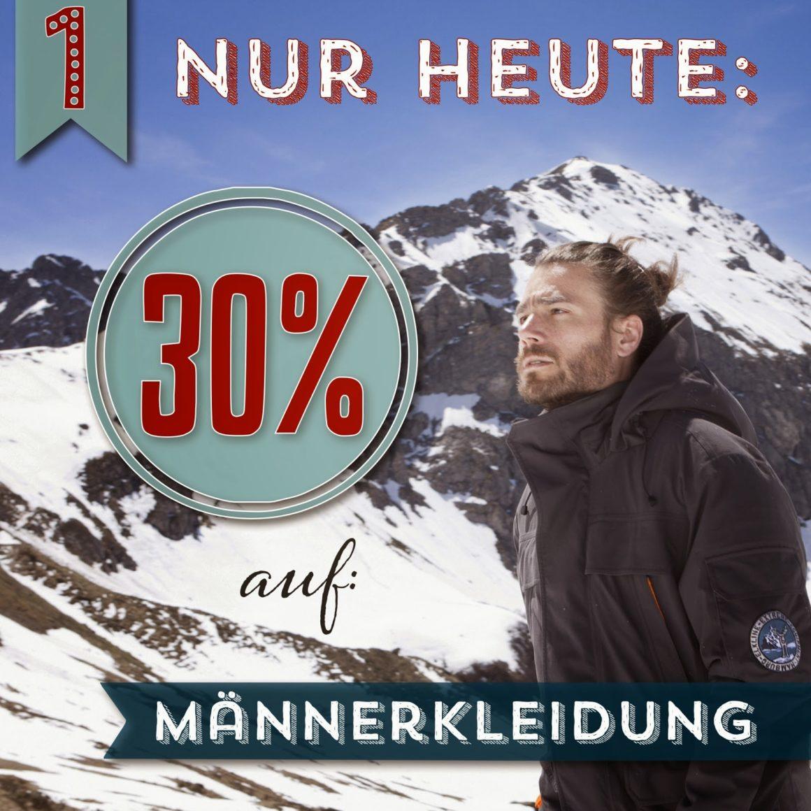 Türchen N°1 im Adventsmirakel - 30% auf Männerkleidung!